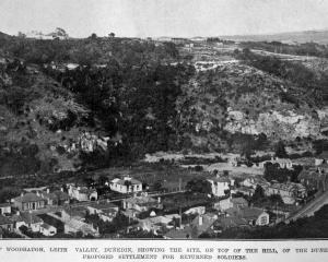 View of Woodhaugh, Leith Valley, Dunedin showing the site, on top of the hill, of the Dunedin...