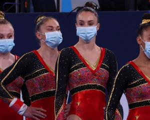 The Belgium gymnastics team waits to compete in Tokyo. Photo: Reuters