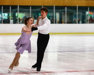Dunedin skaters Lucienne Holtz and Tim Bradfield in action. PHOTO: KEA PHOTOS