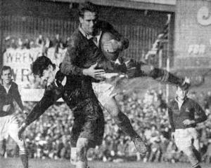 Springboks No8 Butch Lochner makes a spectacular leap to get the ball from All Blacks wing Morrie...