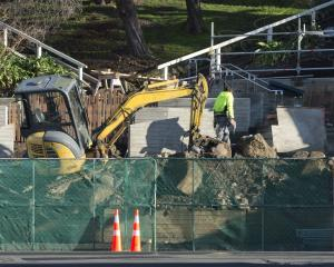 A digger waits on site on Tuesday morning at the long-awaited Archibald Baxter memorial at the...