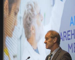 Blis Technologies chairman Tony Offen addresses shareholders at the company's annual meeting in...