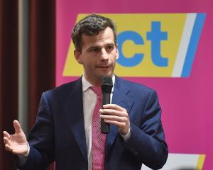 Act New Zealand leader David Seymour addresses party faithful in Dunedin on Saturday night....