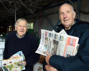 Gore Pakeke Lions recycling convener Neil McPhail (left) and club member Doug Dixey are...