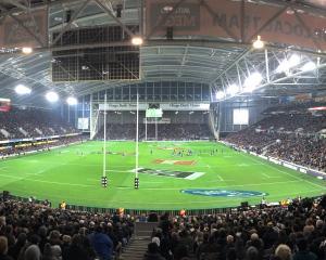 A panoramic view of Forsyth Barr Stadium on Saturday night. Photos: Peter McIntosh