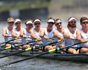The New Zealand men's eight of (l to r) Thomas Mackintosh, Hamish Bond, Tom Murray, Michael Brake...