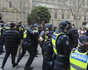 """NSW Police said Saturday's protest was """"a breach of Covid-19 health orders"""" and that """"a number of..."""