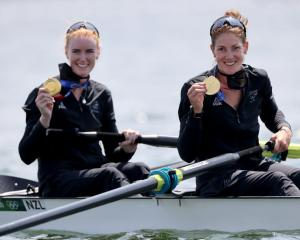 Grace Prendergast and Kerri Gowler from New Zealand with gold medal at the award ceremony. Photo:...