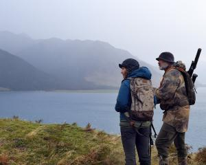 Lisa Scott gets an overview of hunting on Glen Dene Station, Lake Hawea, from guide Tony Higgins....