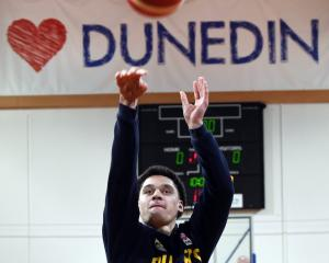 Pafe Momoisea shoots at Otago Nuggets training on Thursday at the Edgar Centre. PHOTO: STEPHEN...