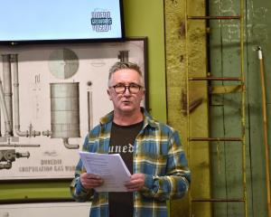 Heritage building developer Lawrie Forbes gives a talk on the Scribes building demolition at the...