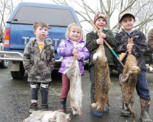 Showing off the results of  a recent weekend out hunting together with their dads during this...