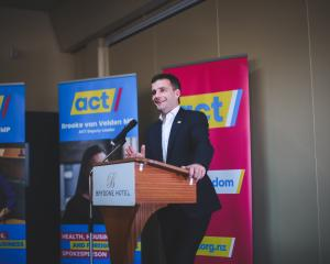 Act New Zealand leader David Seymour speaks to a crowd of about 90 people in Oamaru on Saturday....