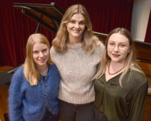 Dunedin singers (from left) Erica Paterson, Rhiannon Cooper and Olivia Pike at Marama Hall, after...