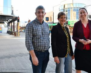 Invercargill City Council roading manager Russell Pearson, chief executive Clare Hadley and...