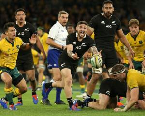 Potential Sydney Rooster TJ Perenara clears the ball from a ruck for the All Blacks during a...