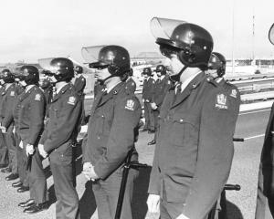Springbok Tour protests in Dunedin, 1981 Police barricade on the Southern Motorway near...