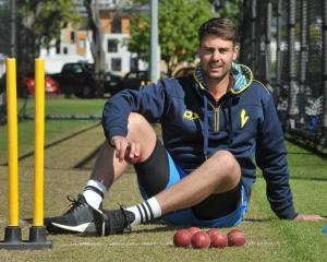 Otago seamer Travis Muller takes a break during a training session at Logan Park earlier this...