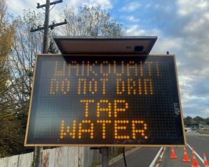 A sign advising people not to drink the water in Waikouaiti. Photo: ODT files