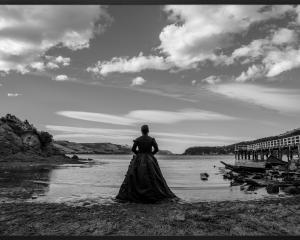 Yuki Kihara's lenticular print of Salome standing on a Quarantine Island beach. PHOTO: GLENN FEI