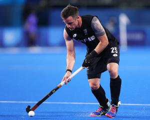 Shea McAleese in action for the Black Sticks at the Tokyo Olympics. PHOTO: GETTY IMAGES