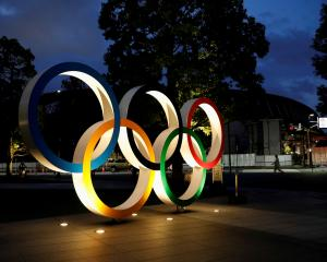 The Olympic Rings monument outside the Japan Olympic Committee headquarters in Tokyo. Photo: Reuters