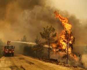 A crew battles a a forest fire near the town of Manavgat, east of the resort city of Antalya....