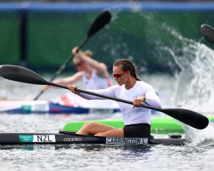 Lisa Carrington in action during her K1 200m heat. Photo: Reuters
