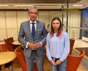 Belarusian opposition politician Pavel Latushka met with Krystsina Tsimanouskaya after the...