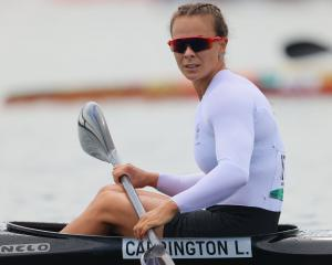 Lisa Carrington on the water in Tokyo. PHOTO: REUTERS