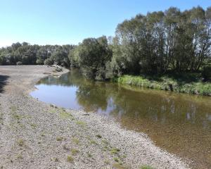 The Pomahaka River at Kelso, showing signs of lower water levels. PHOTO: JOHN COSGROVE