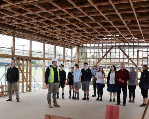 Lawrence Area School rebuild contractors Naylor Love show senior pupils and staff the progress...