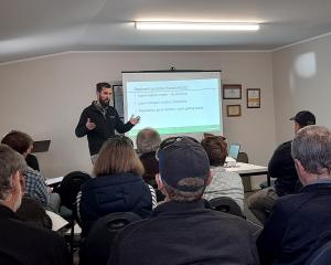 Ravensdown scientific officer Will Talbot speaks to landowners in Mid Canterbury about managing...