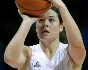Charlisse Leger-Walker attempts a free throw during a Tall Ferns training game in Auckland last...