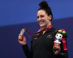 A delighted Sophie Pascoe with her silver medal Photo: Getty Images