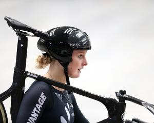 Olivia Podmore after competing in the Women's Elite Team Sprint qualifying during the New Zealand...