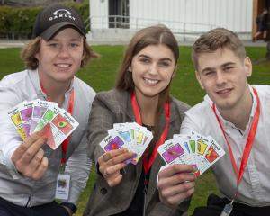 Year 13 students Oakley Inkersell, Rosa Kelly and Aljaz Smrekar show off Food Fight. Photo: Geoff...