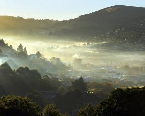 Smoggy conditions in Dunedin's North East Valley. Photo: STEPHEN JAQUIERY