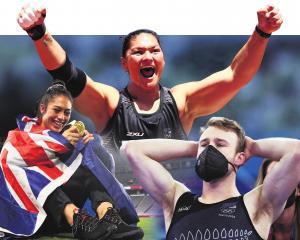 New Zealand medallists (from left) Tenika Willison, Dame Valerie Adams and Dylan Schmidt...