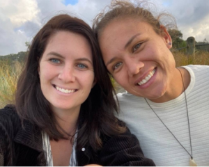 Dani Fennessy (left) with partner and Olympic gold medal-winning Black Ferns Sevens prop Ruby Tui...