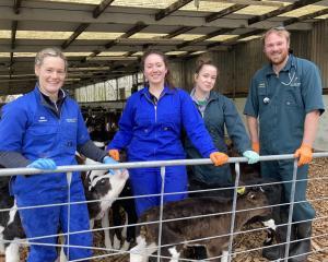 Clutha Vets rural animal technician Kim Bastiannsen and vet Steve Butler with SIT-Telford...