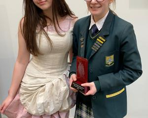 Bayfield High School year 12 pupil Bella O'Connor (17, right) won the Natural Fibres Award in the...