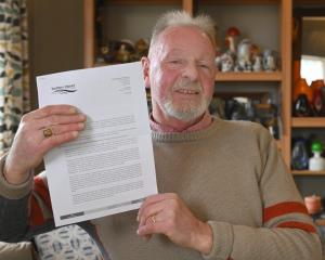 Stephen Watt with his apology letter from the Southern District Health Board, which sets out...
