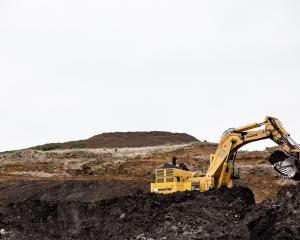A digger excavates at Takitimu Mine, run by Bathurst Resources Ltd. The mining conglomerate hope...