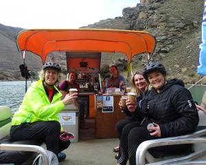 Cyclists (from left to right) Karen Spires, of Queenstown, Sarah Aston, of Auckland, and Fiona...