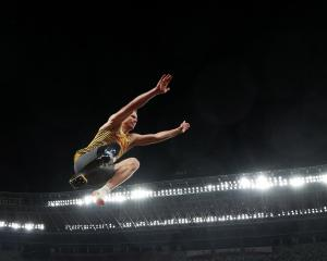 German Markus Rehm competes in the men's long jump T64 final at the Tokyo Paralympics. PHOTO:...