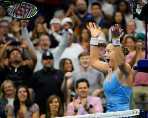 Shelby Rogers reacts after beating Ash Barty in their US Open encounter. Photo: Robert Deutsch...