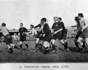 A throw-in from the line during the All Blacks v New South Wales rugby match, September 3, 1921. ...