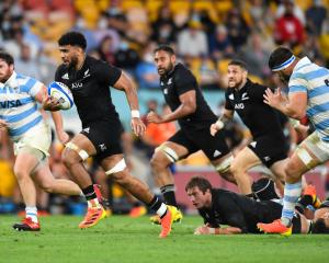 Hoskins Sotutu runs the ball during The Rugby Championship match between the Argentina Pumas and...