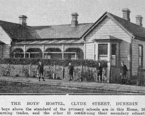 The Presbyterian Social Service Association boys' hostel, Clyde St, Dunedin, home to 20 boys, 10...